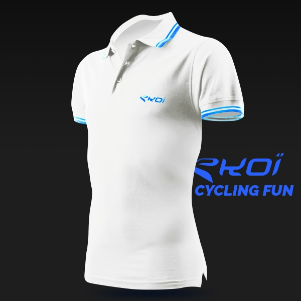 Polo men EKOI Cycling Fun Bianco