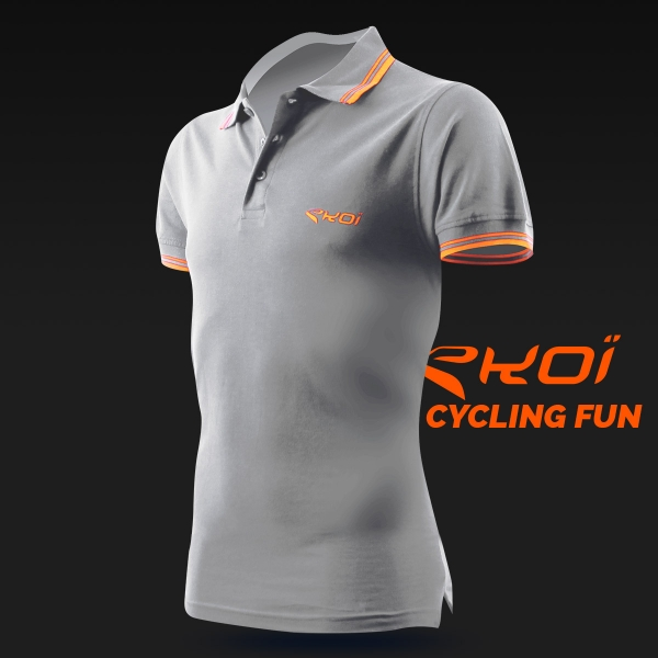 Polo men EKOI Cycling Fun Gris