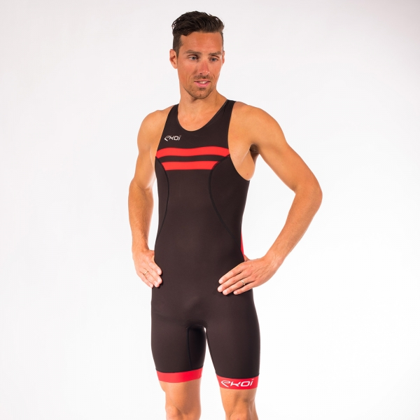 Combinaison triathlon EKOI Courte Distance Noir Rouge